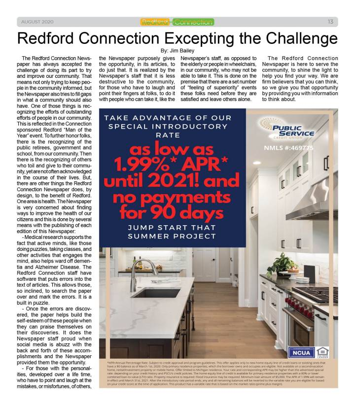 August 2020 Redford Connection Page 13